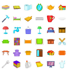 Sweet house icons set cartoon style vector