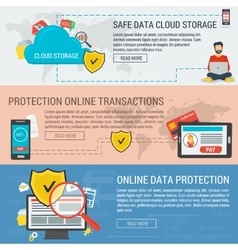Three banners data protection vector