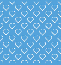 White hand draw hearts on sky blue background vector