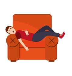 Person sleeping on sofa icon vector