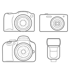 Photo camera flash outline icons vector