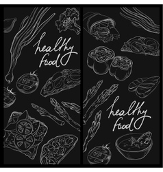Collection of hand-drawn food on blackboard vector image