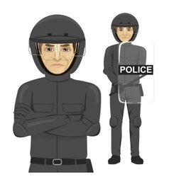 Mature serious police man riot officer vector