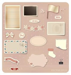 Vintage postcard designs set vector