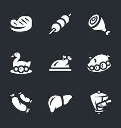 set of meat food icons vector image