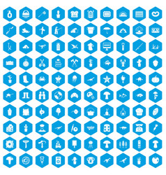 100 hobby icons set blue vector