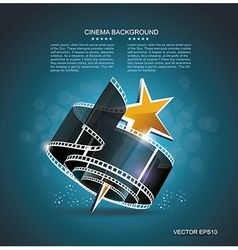 Film strip roll with gold star cinema background vector
