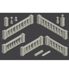 Set of architectural element balustrade vector