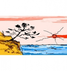 Sunset over the sea vector
