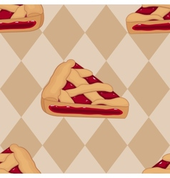 Pieces of cherry tart seamless pattern vector