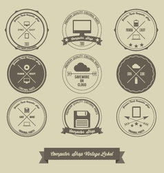 Computer shop vintage label vector