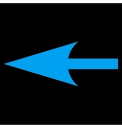 Sharp left arrow flat blue color icon vector