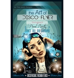 Attractive club disco flyer with a girl dj vector