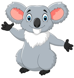 Happy cartoon koala waving hand vector