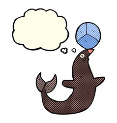 Cartoon performing seal with thought bubble vector
