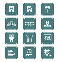 Dental icons - teal series vector