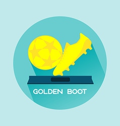 Golden boot and ball soccer reward vector
