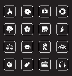 White flat icon set 6 with rounded rectangle frame vector
