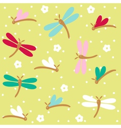 Dragonfly seamless floral pattern vector