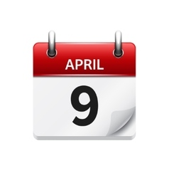 April 9 flat daily calendar icon date and vector