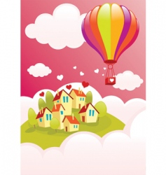 Air balloon over the city vector