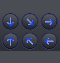 Black buttons with blue arrows arrow keys vector