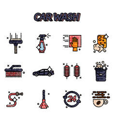 Car wash flat icons set vector
