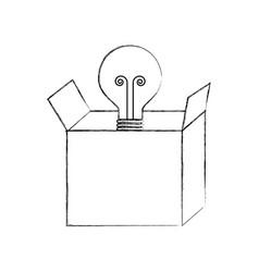 cardboard box with bulb light idea business vector image