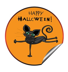 cat halloween sticker vector image