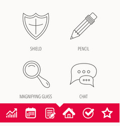 Chat speech bubbles magnifier and pencil icons vector