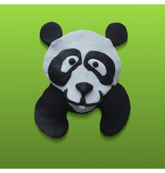 Cute Panda Head in Green Background vector image vector image
