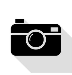 digital photo camera sign black icon with flat vector image vector image