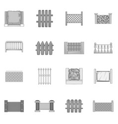 Fencing modules icons set monochrome vector