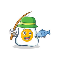 Fishing fried egg character cartoon vector