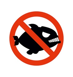 Forbidden Piranha Stop fish Red forbidding vector image vector image