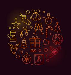 happy new year circular colored vector image