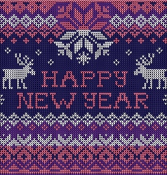 Happy New Year Scandinavian style seamless knitted vector image