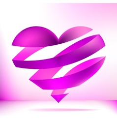 Heart made from pink ribbon EPS8 vector image