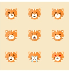 Icons of smiley cat faces vector