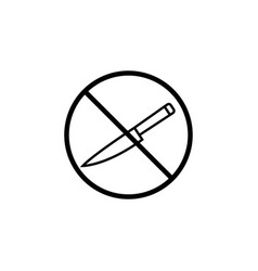 no sharp object line icon prohibition sign vector image vector image