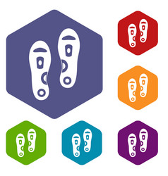 Orthopedic insoles icons set hexagon vector