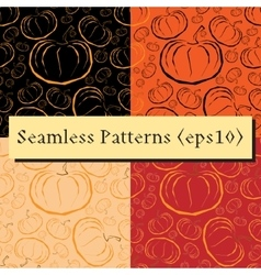 Outline pumpkins seamless patterns set vector