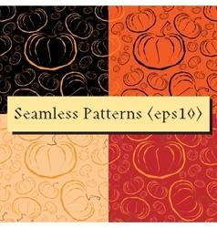outline pumpkins seamless patterns set vector image vector image