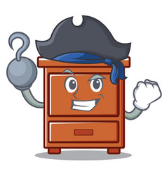 Pirate wooden drawer character cartoon vector
