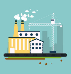 Plant crane street building chimney icon vector