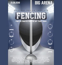 Poster template of fencing vector