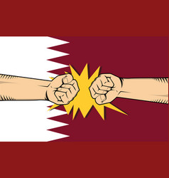 Qatar protest with hand fist clash fight with vector