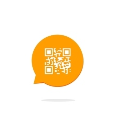 Qr code icon in orange speech bubble vector image vector image