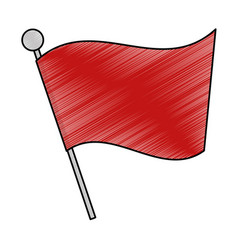 red flag silhouette isolated icon vector image