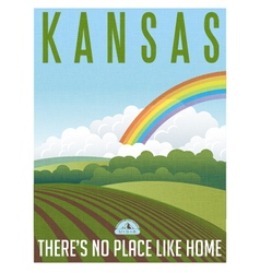 Retro travel poster kansas vector